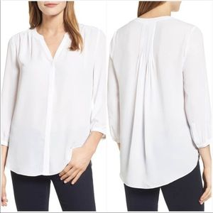 NYDJ Pleat Back White Blouse Size Small